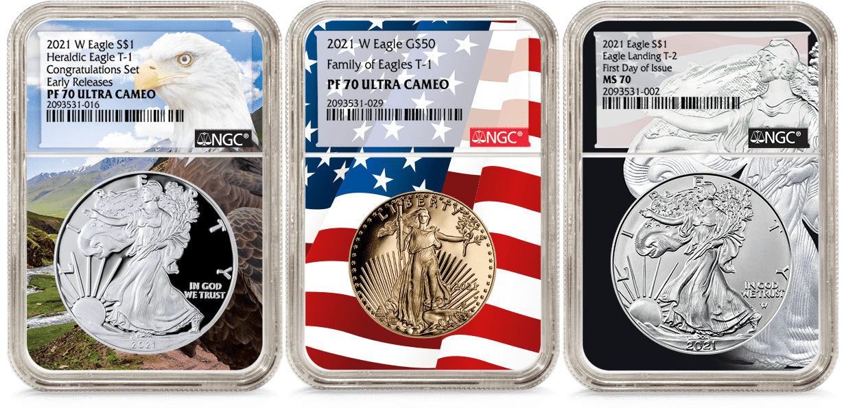 American Eagles in NGC's Custom Cores Holders