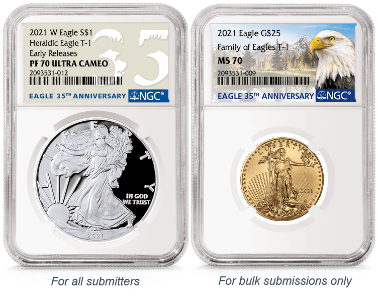 American Eagles in NGC's 35th Anniversary Celebratory Label Holders